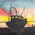 Grounded Shrimp Boat by Don Hand