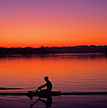 Silhouetted Man Rowing by Jim Corwin