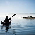 Silhouetted Morro Bay Kayaker by Bill Brennan - Printscapes