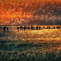 Silhouettes On The Shore by Leigh Kemp