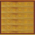 Silken Gold Border Stripes With Jewel Imprint Elegant Border Energy Healing Art By Navinjoshi Finear by Navin Joshi