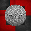 Silver Mayan-aztec Calendar On Black And Red Leather by Serge Averbukh