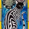 Silver Tabby With Mandala - Cat Art By Dora Hathazi Mendes by Dora Hathazi Mendes