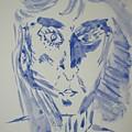 Simple Portrait In Blue.water Color 1999 by Dr Loifer Vladimir