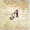 Single A Monogram Tile Coaster With Script by Angela Rath