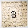 Single B Monogram Tile Coaster With Script by Angela Rath