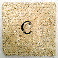 Single C Monogram Tile Coaster With Script by Angela Rath