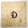 Single D Monogram Tile Coaster With Script by Angela Rath