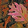 Single Oak Leaf On Leaves Red And Green by Lynda Lehmann