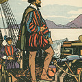 Sir Francis Drake On His Ship by American School