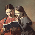 Sisters Reading A Book by Carl Hansen