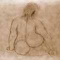 Sitting Fat Nude Woman by Vladi Alon