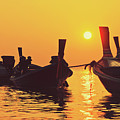 Six Thai Wooden Boats Floating And Glittering In The Lagoon During Golden Sunset Koh  by Srdjan Kirtic