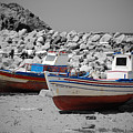 Skala Eressos Harbour Boats by Daren Griffin