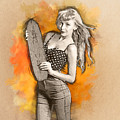 Skateboard Pin-up Illustration by Jorgo Photography - Wall Art Gallery