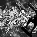 Skateboarder On Graffitti by Dawn OConnor