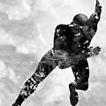 Skating Man-black by Erzebet S