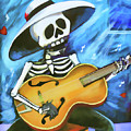 Skeleton Guitar Day Of The Dead  by Chuck Kuhn