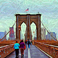 Sketch Of Brooklyn Bridge Pedestrians by Randy Aveille