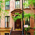 Sketch Of Carrie Bradshaw Greenwich Village Brownstone by Randy Aveille