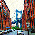 Sketch Of Dumbo Neighborhood In Brooklyn by Randy Aveille