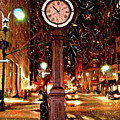 Sketch Of Midtown Clock In The Snow by Randy Aveille