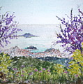 Skiathos Town And Judas Trees by Yvonne Ayoub