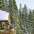 Skiers On Balcony Of Ski Lodge Prepare by Mark Cosslett