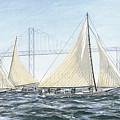 Skipjacks Racing Chesapeake Bay Maryland Detail by G Linsenmayer