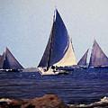Skipjacks Racing IIi Chesapeake Bay Maryland Contemporary Digital Art Work by G Linsenmayer