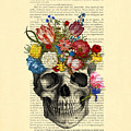 Skull With Flowers Vintage Illustration by Madame Memento