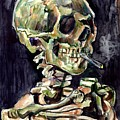 Skull Of A Skeleton With Burning Cigarette by Suzann Sines