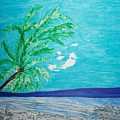 Sky Blue Palm Tree Beach by Golden Dragon