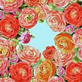Sky Through Rununculus Flowers by Irina Sztukowski