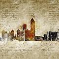 skyline of Atlanta in modern and abstract vintage-look by Michael Kuelbel