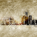 skyline of Detroit in modern and abstract vintage-look by Michael Kuelbel