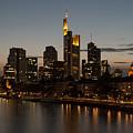 Skyline Of Frankfurt City In Twilight by Michalakis Ppalis