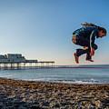 Slacklining On Aberystwyth Beach by Keith Morris