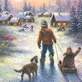 Sledding To The Village by Vickie Wade