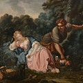Sleeping Maiden In A Woodland Landscape by Francois Boucher