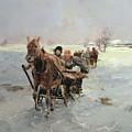 Sleighs In A Winter Landscape by Janina Konarsky