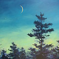 Sliver Moon And Pines by Sandra Leinonen Dunn
