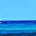 Sloop Sailing On Blue by Lyle  Huisken