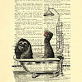 Sloth, Funny Children's Art, Bathroom Decor by Madame Memento