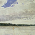 Small Sloop On Saco Bay by Winslow Homer