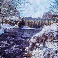 Small Stream, Snowy Scene And Waterfalls. by Rusty R Smith
