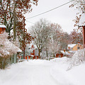 Small Village In Sweden In Lots Of Snow by Kathleen Smith