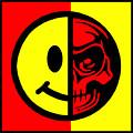 Smiley Face Skull Yellow Red Border by Tony Rubino
