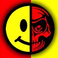 Smiley Face Skull Yellow Red Shadow by Tony Rubino