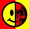 Smiley Face Skull Yellow Red by Tony Rubino